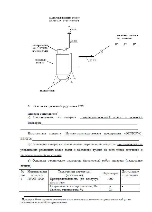 Схема пылеулавливающего